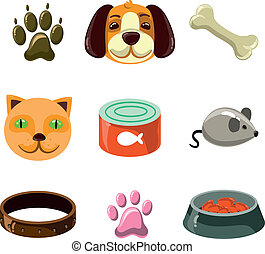 cat and dog with toys and food