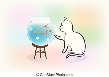 Cat and fish silhouette logo
