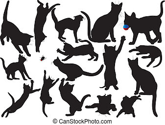Cat and kitten vector silhouettes on white background. WIth moustaches. Layered. Fully editable