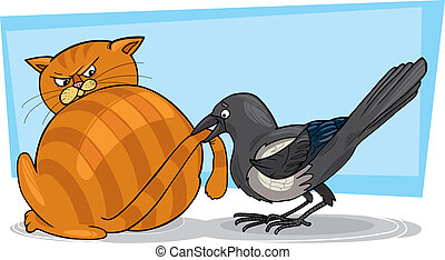 Cat and magpie - Illustration of sleepy cat and malicious...