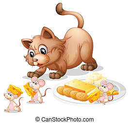 Cat and mice - Illustration of a cat and mice