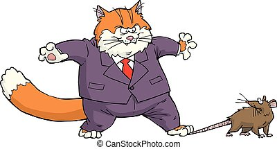 Cat and mouse - Cartoon cat caught the mouse vector...