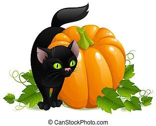 halloween illustration of black cat and pumpkin