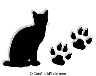 Cat and tracks - Cat silhouette with tracks silhouette on...