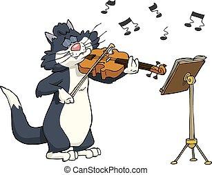 Cat and violin - Cartoon cat playing the violin vector...