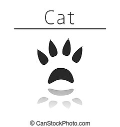 Cat animal track with name and reflection on white ...