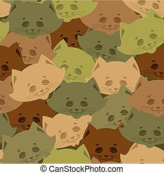 Cat army pattern. Home pet military background. Texture for soldiers cloth. Hunter Protective ornament