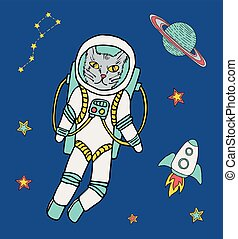 Cat astronaut at space background