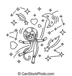 Cat astronaut in space. Vector illustration