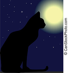 Cat at night and moon. Vector