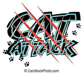 Cat attack - Vector illustration of claw scratch marks ...