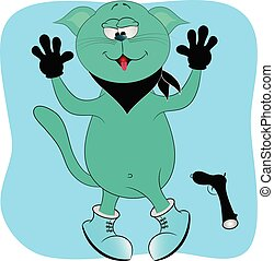 cat bandit with a gun cartoon vector illustration.