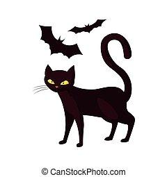 cat bats happy halloween celebration design