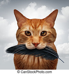 Cat behavior and killer instinct concept as a domestic feline with a black bird feather in its mouth as a metaphor for pet psychology in a 3D illustration style.