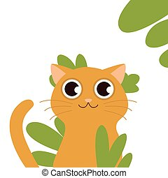 cat behind grass. Fluffy brooding yellow-eyed cat on a white background with Icon