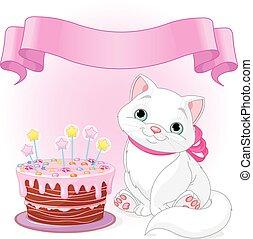 Cat Birthday Celebrating - Adorable cat celebrating its...