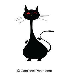 cat black funny illustration vector