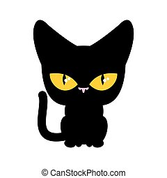 Cat black isolated. Pet on white background