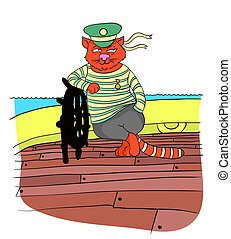 Cat boatswain at the helm of the ship, vector illustration....