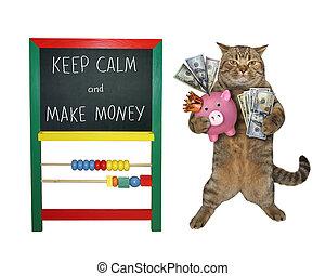 Cat businessman makes money 2