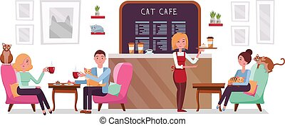Cat cafe shop, people single and couple relaxing with kitties. Place interior to meet, have a rest with pets, waitress tray with cake and coffee. Vector flat cartoon illustration on white background