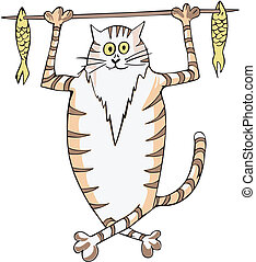 Cat carrying fish on a stick