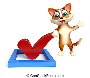 cat cartoon character with right sign