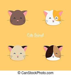 Cat cartoon faces