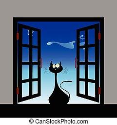 cat cartoon front of window vector