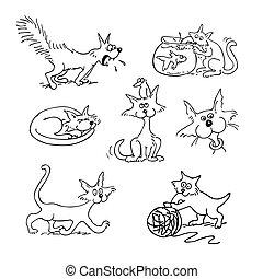 cat cartoon set