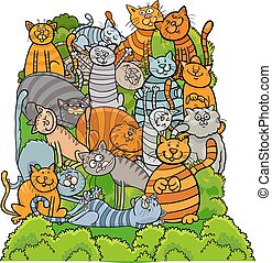 cat characters group cartoon illustration - Cartoon...