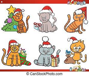 cat characters on Christmas cartoon set - Cartoon...