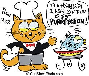 Cat chef with fish cartoon.