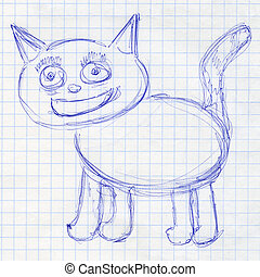 Cat. Children's drawing in a school notebook