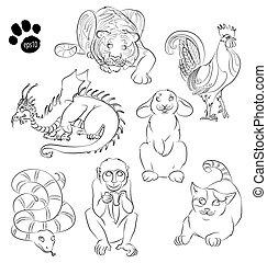 cat, cock, dragon, monkey, rabbit, snake, tiger