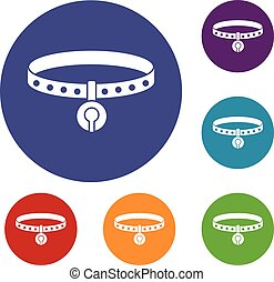Cat collar icons set