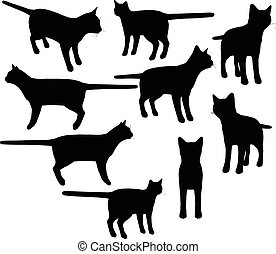cat collection vector silhouette