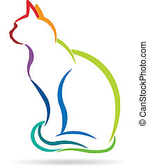 Cat color styled silhouette image.