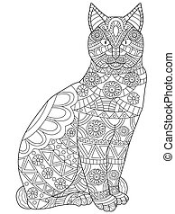 Cat Coloring vector for adults