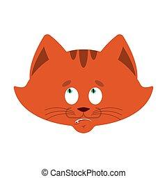 Cat confused emoji oops. Pet perplexed emotions. kitty surprise. Vector illustration