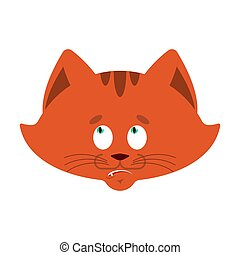 Cat confused emoji oops. Pet perplexed emotions. kitty surprise. Vector illustration