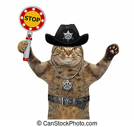 Cat cop holds stop sign 2