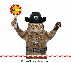 Cat cop holds stop sign