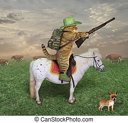 Cat cowboy with a rifle on the ranch