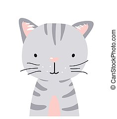 Cat cute animal baby face vector illustration. Hand drawn style nursery character. Scandinavian funny kid design