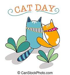 cat day card cartoon vector