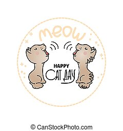 Cat Day Card. Vector illustration with two mewing cats.