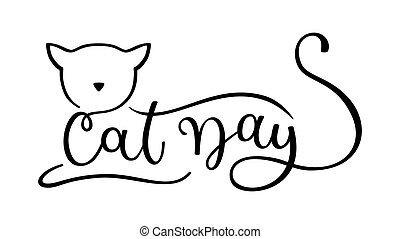 Cat Day. Hand drawing vector logo with cat silhouette isolated on white background.