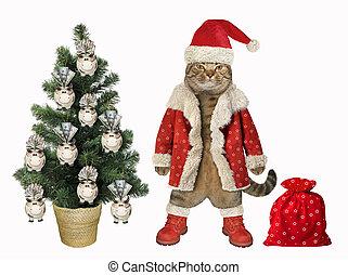 Cat decorates tree with piggy banks 2