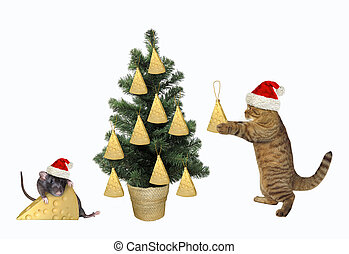 Cat decorating the Christmas tree 2
